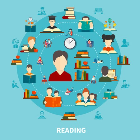 Reading round composition on blue background including persons with books, literature on shelves, electronic text vector illustration.