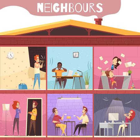 Buren wonen in een stadhuis met meerdere verdiepingen en geïrriteerd vanwege lawaai en ruzie cartoon vectorillustratie Stockfoto - 96722562