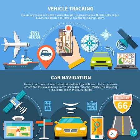 Conjunto de navegación de dos pancartas con texto editable e iconos planos que representan vehículos de transporte y navegadores ilustración vectorial