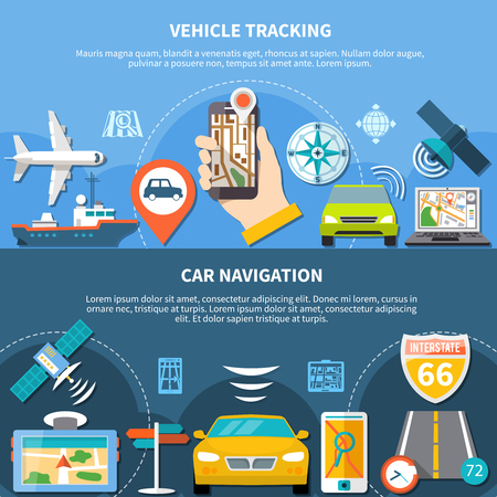 Navigation set of two banners with editable text and flat icons representing carrier vehicles and navigators vector illustration Illustration