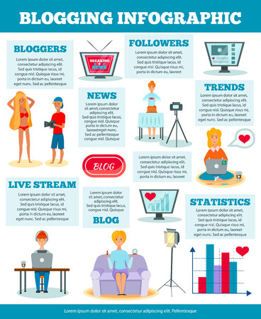 Bloggers characters popular topics statistics examples comparison infographic poster vector illustration Illusztráció