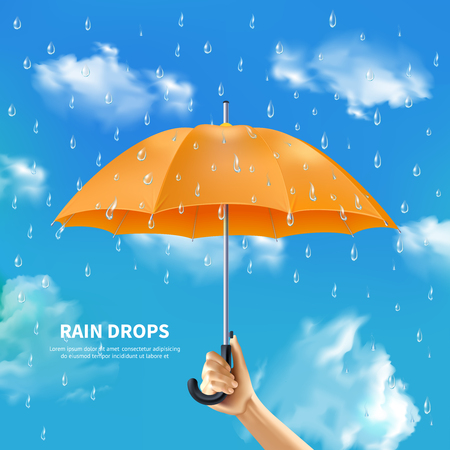 Realistic poster with raindrops and hand holding open orange umbrella on cloudy sky background