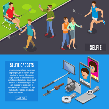 Set of horizontal isometric banners social photo and self portrait with mono pod, selfie gadgets isolated vector illustration Illustration