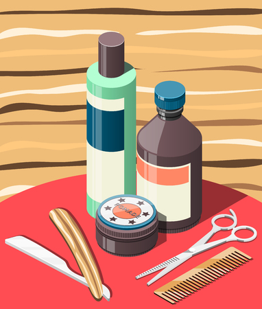 Barbershop isometric background with hair cosmetics and professional tools including scissors, razor, comb vector illustration Illustration
