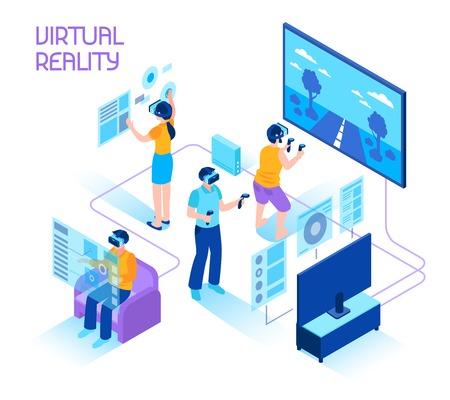 La composizione isometrica in realtà virtuale con la gente in cuffie avricolari che si immergono nell'illustrazione di vettore dei controllori di moto della tenuta del mondo di realtà virtuale.