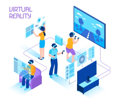 Virtual reality isometric composition with people in headsets immersing in virtual reality world holding motion controllers vector illustration.