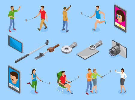 Social photo isometric icons set with gadgets mono pods lens and people making selfie isolated vector illustration