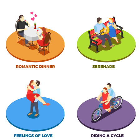 Dating Romantic relationship design concept with serenade on bench riding cycle feeling of love and romantic dinner isometric compositions vector illustration