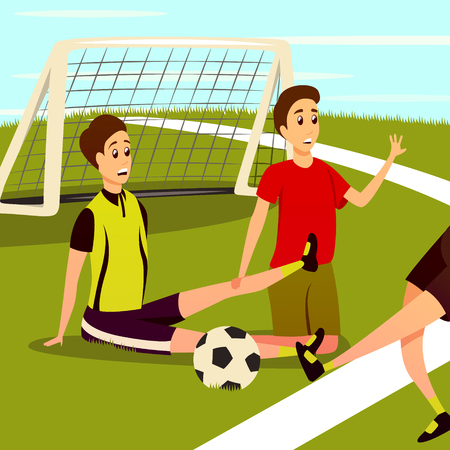 Sport injury flat colorful background composition with human characters of traumatized football players on soccer field vector illustration