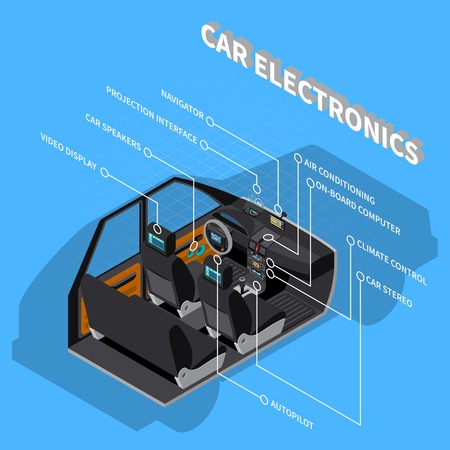 Car electronics concept with air conditioning symbols on blue background isometric vector illustration.