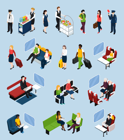 Set of isometric icons with passengers and crew, train interior elements isolated on blue background vector illustration