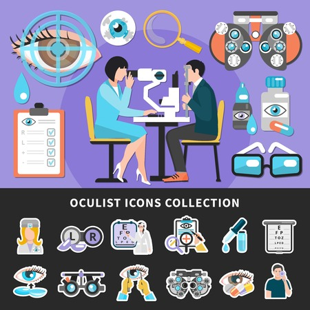 Optometrist eye examination 2 colorful ophthalmology center banners with sight test and oculist icons collection vector illustrations Foto de archivo - 96959207