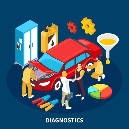 Auto service equipment isometric concept with diagnostocs symbols vector illustration