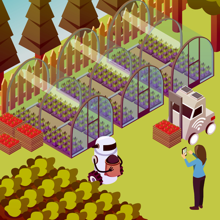 Agricultural robots isometric composition with outdoor farm landscape and robots doing rural works within human sight vector illustration Illustration