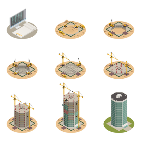 Skyscraper construction process progress 9 isometric icons collection from project design to final building isolated vector illustration Illustration