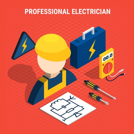 Red electricity isometric composition with professional electrician headline and isolated elements on the theme vector illustration. Illustration