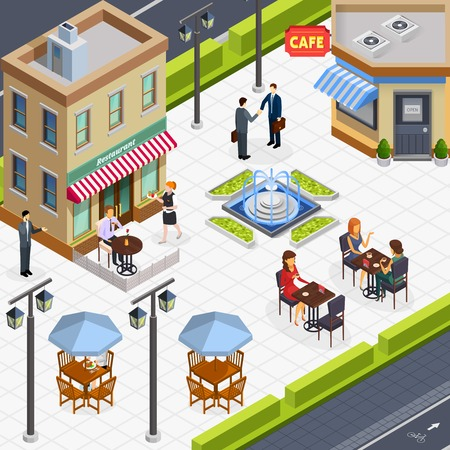 Isometric business lunch people composition with a few tables in the outdoor illustration. Illustration