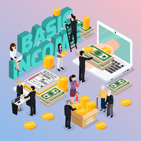 Social security composition with basic income and money symbols isometric vector illustration Vettoriali
