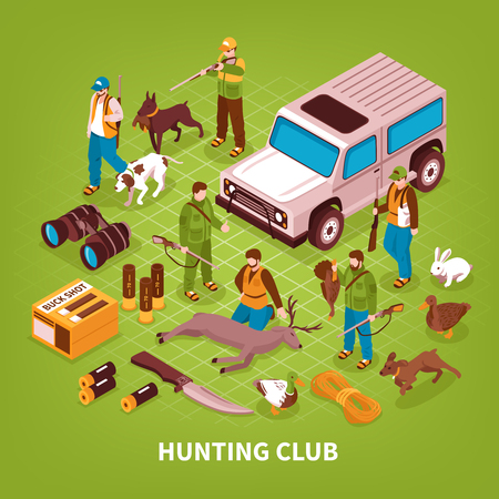 Hunting club shooting season activities isometric poster with equipment gear illustration.