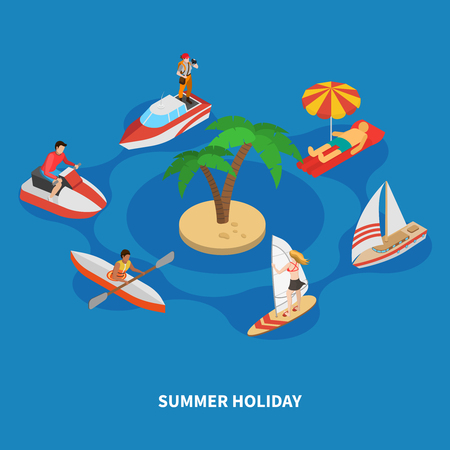 Water activities during summer holiday including surfing, trip on boats, isometric composition on blue background vector illustration.