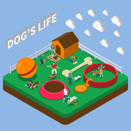 People playing with pets big ball kennel bowl bone and collar isometric composition on blue background 3d vector illustration