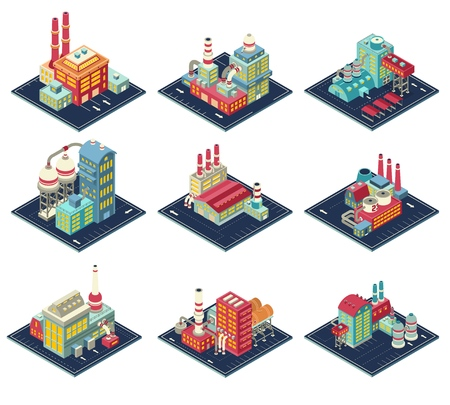 Factories with industrial constructions, smoke pipes, road infrastructure set of isometric compositions isolated vector illustration