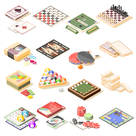 Board games isometric icons set of checkers chess playing cards roulette tennis bingo billiard puzzles vector illustration Illustration
