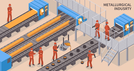 Steel and iron metallurgical industry hot rolling and injection molding facility isometric composition with workers vector illustration