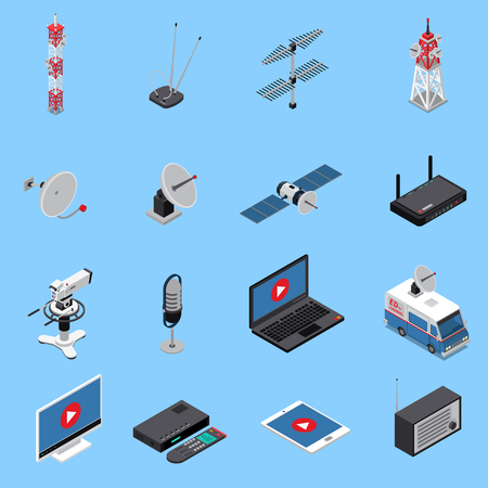 Telecommunication isometric icons set with broadcast equipment and electronic devices isolated on blue background 3d vector illustration.
