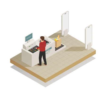 Fully self-service automatic secure checkout payment processing technology in grocery supermarket section isometric composition vector illustration Illustration