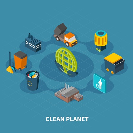 Garbage isometric composition of isolated pictograms and icons with trash cans waste bins and recycling plants vector illustration
