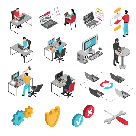 Programmers software developers isometric icons collection with block diagram code samples and protection from hackers vector illustration.