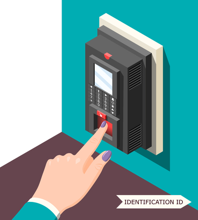 Biometric id background with electronic access control device and female hand with finger on sensor vector illustration Foto de archivo - 96570805