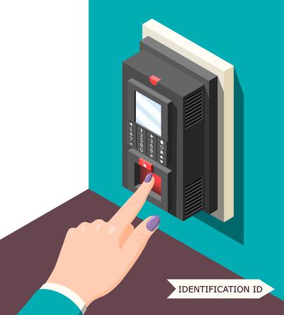 Fond d'identification biométrique avec dispositif de contrôle d'accès électronique et main féminine avec le doigt sur l'illustration vectorielle du capteur
