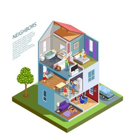 House with neighbors including spoiled kids, crying baby, barking dog, people during quarrel isometric composition vector illustration Vectores