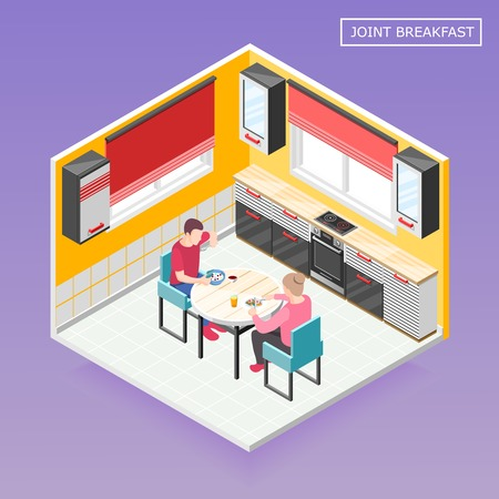 キッチンインテリアベクターイラストで共同朝食を持つ男性と女性のキャラクターとの毎日のルーチンアイソメトリック組成物