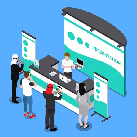 Isometric composition with people watching presentation of laptop near promotion stand on blue background 3d vector illustration Standard-Bild - 96609904