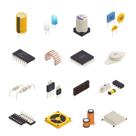 Composants électroniques de dispositif semi-conducteur icônes isométriques sertie de photo de signal et diodes de tension transitoire isolé illustration vectorielle Banque d'images - 96782103