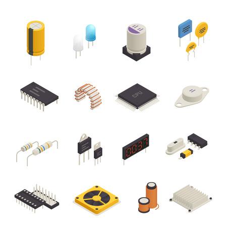Los iconos isométricos de los componentes electrónicos del dispositivo semiconductor establecen con la foto de señal y la ilustración de vector aislado de diodos de voltaje transitorio Ilustración de vector