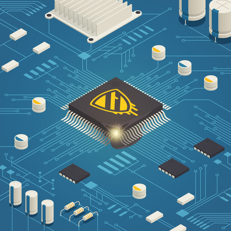 Meltdown cpu hardware vulnerability bug isometric composition with computer system board and malicious software symbol vector illustration 版權商用圖片 - 96570806