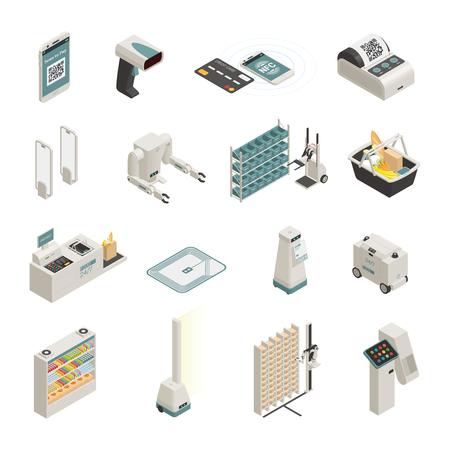Colección de iconos isométricos de tecnologías de compras automatizadas con ilustración de vector aislado de sistema de pago seguro robot inteligente de cesta inteligente