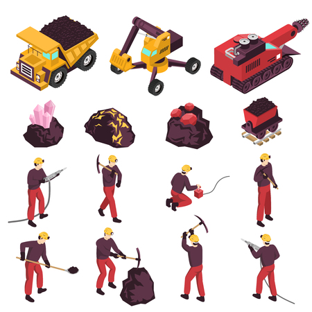 Mining workers products and equipment isometric icons collection with excavator boring and transportation machinery isolated vector illustration.