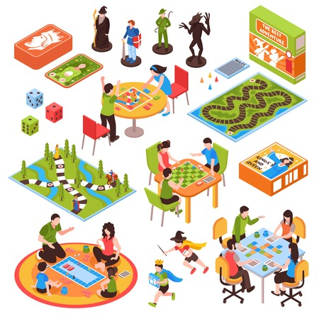 Set of isometric icons with people including adults and kids playing board games isolated vector illustration