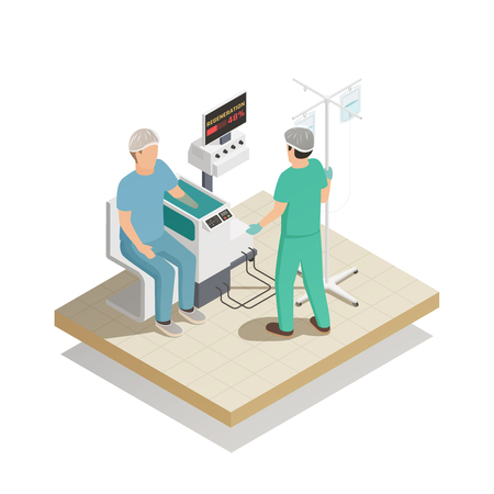 Organs repair and regeneration tissue engineering future medical technologies isometric composition with patient arm treatment vector illustration