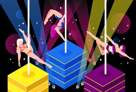 Pole dance performance of girls in bikini in light rays on dark sparking background vector illustration