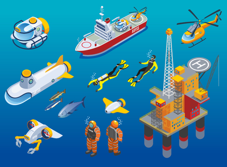 Underwater depths research isometric icons with scientific station, divers, ship, submarine and unmanned equipment isolated vector illustration.