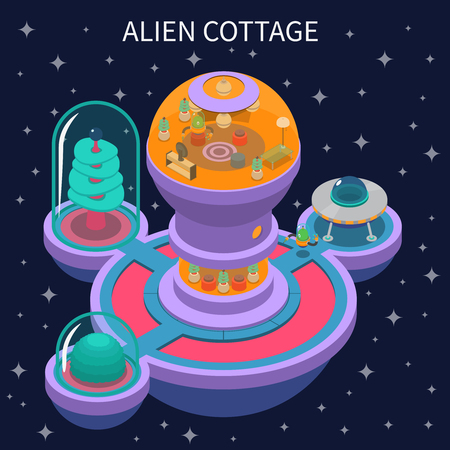Isometric composition with colorful alien cottage and its interior on dark background. Illustration