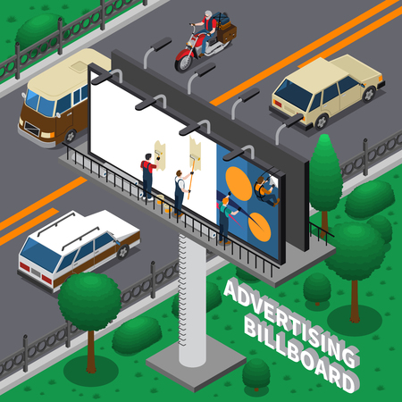Workers pasting ad poster on billboard, isometric composition with transportation on road, green trees vector illustration