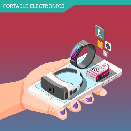 Portable electronics isometric composition on gradient background with smartphone, fitness bracelet, vr glasses in hand vector illustration
