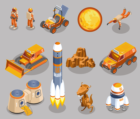 Space exploration isometric icons on grey background with astronauts, planet, rocket launch, transportation, alien isolated vector illustration Çizim